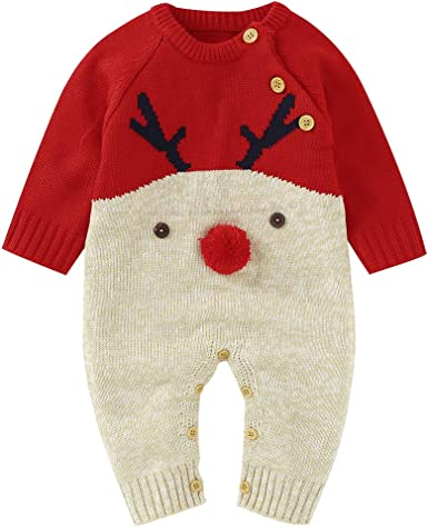 DovFanny Baby Romper Baby Boys Girls Cute Christmas Jumpsuit Winter Knit Reindeer Long Sleeve Warm Outfit for Newborn Baby
