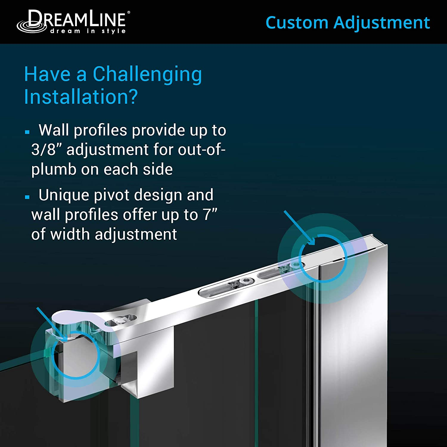 Dreamline Allure 65 66 In W X 73 In H Frameless Pivot Shower Door In Chrome Shdr 4265728 01 Amazon Com
