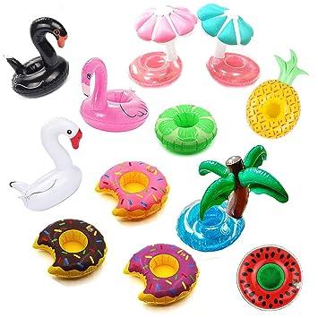 12pcs Mini de flotador hinchable portavasos portavasos flotadores posavasos mágico estilo Verano tumbona playa juguetes piscina juguete para baño: ...