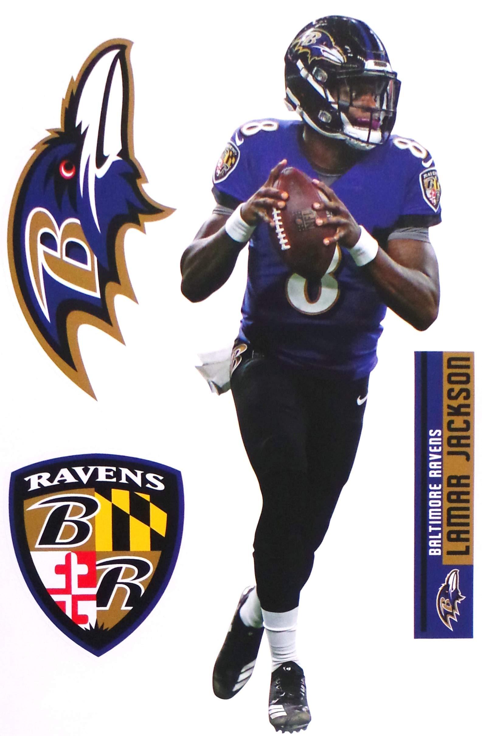 FATHEAD Lamar Jackson Baltimore Ravens Logo Set Official NFL Vinyl Wall Graphics 17'' INCH by FATHEAD