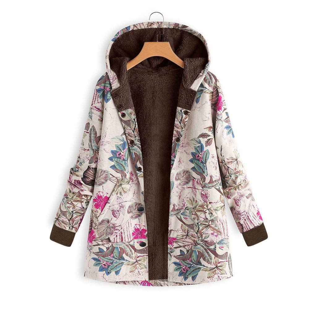 Amazon.com: Womens Winter Warm Outwear Duseedik Plus Size Down Jackets Floral Print Hooded Pockets Vintage Oversize Coats Sweatshirts: Clothing