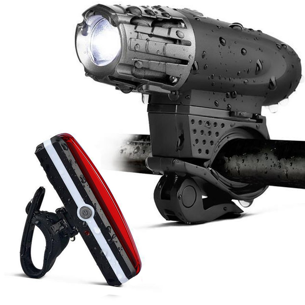USB Rechargeable LED Bike Light Set, LASUAVY Waterproof Super Bright LED Bicycle Lights including 300 Lumens Front Light and 100 Lumens Tail Light - Easy Installation Mountain Bike Light Safety for Night Riders Bicycle Lights bike light F+T