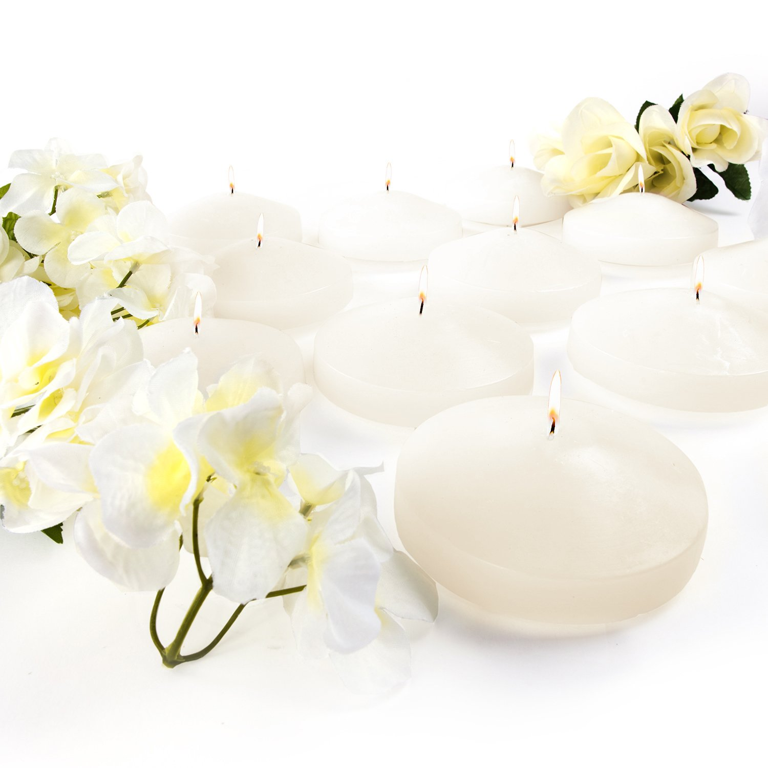 3.25'' White Unscented Dripless Floating Tealight Shape Candles Set (24 Pack) (Ivory)