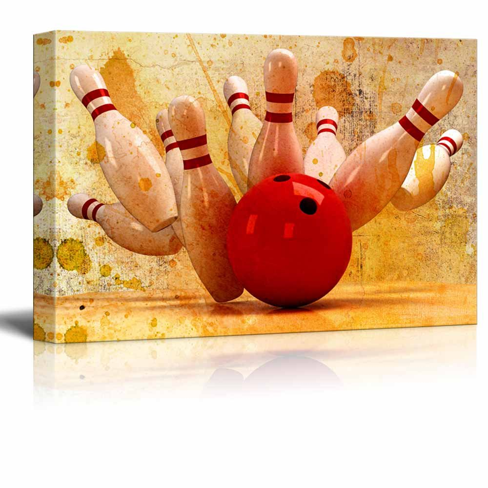 Canvas Wall Art - Bowling Hitting a Split - Giclee Print Gallery Wrap Modern Home Art Ready to Hang - 24