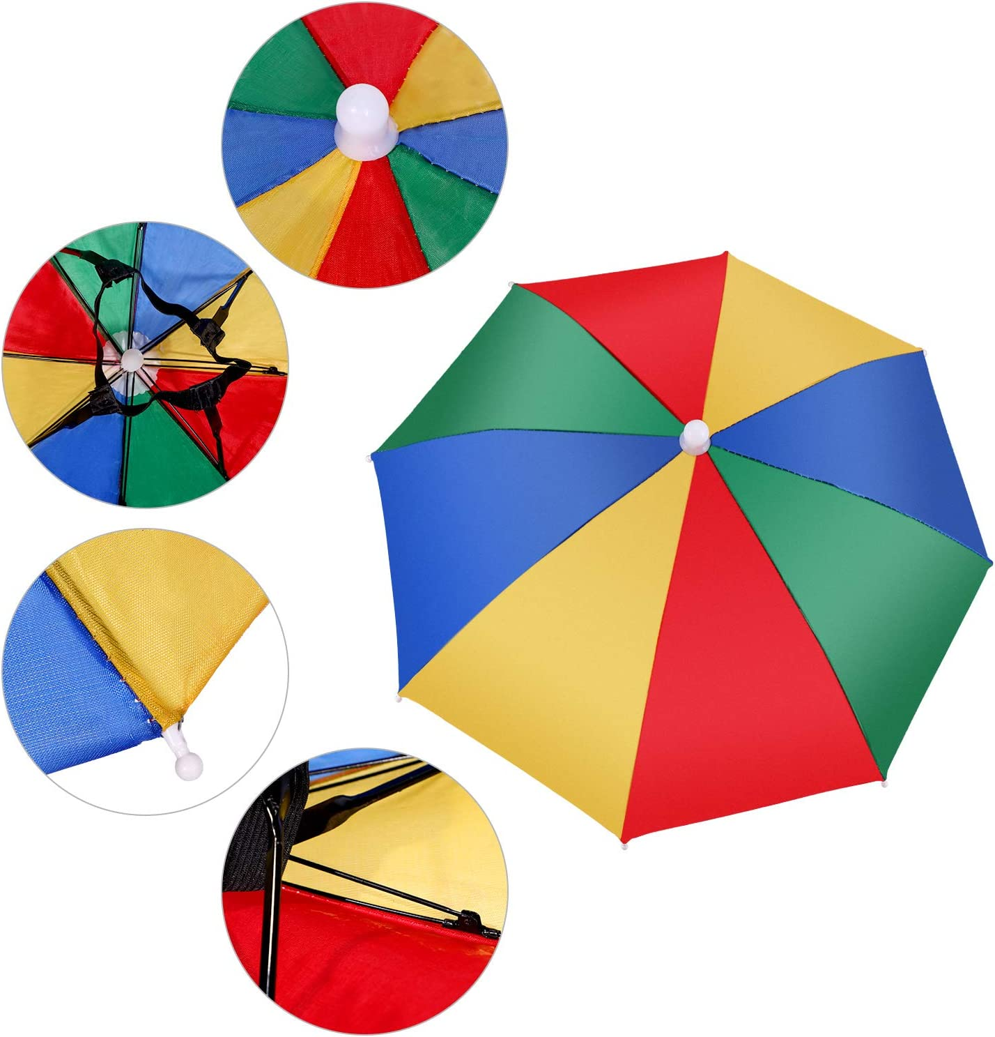 Rainbow Umbrella Hat Folding Sun-rain Umbrella Hat for Outdoor Activities