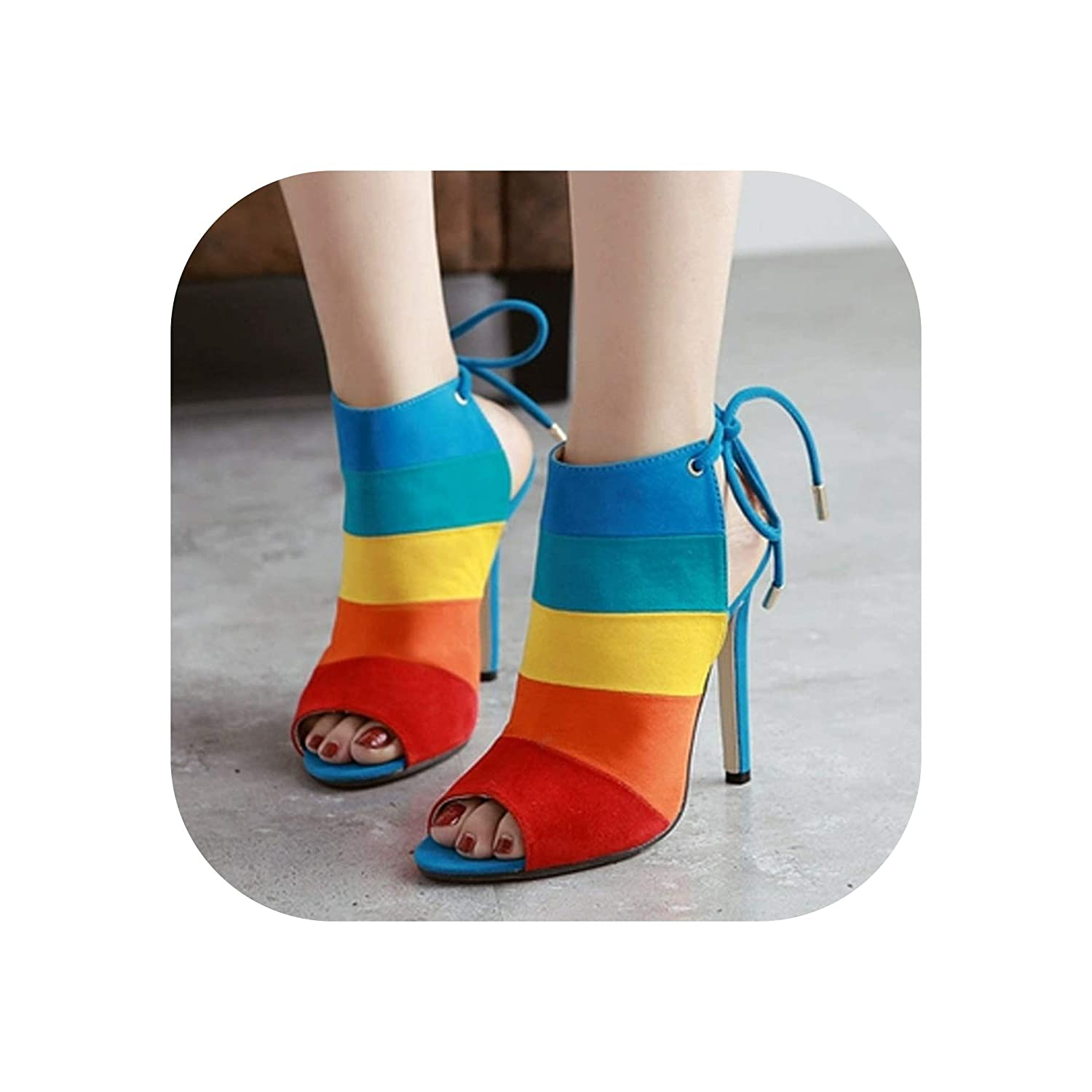 colorful Sandals Women Sexy Lace Up Ladies High Heel Wedding Party Women Pumps Sandals shoes