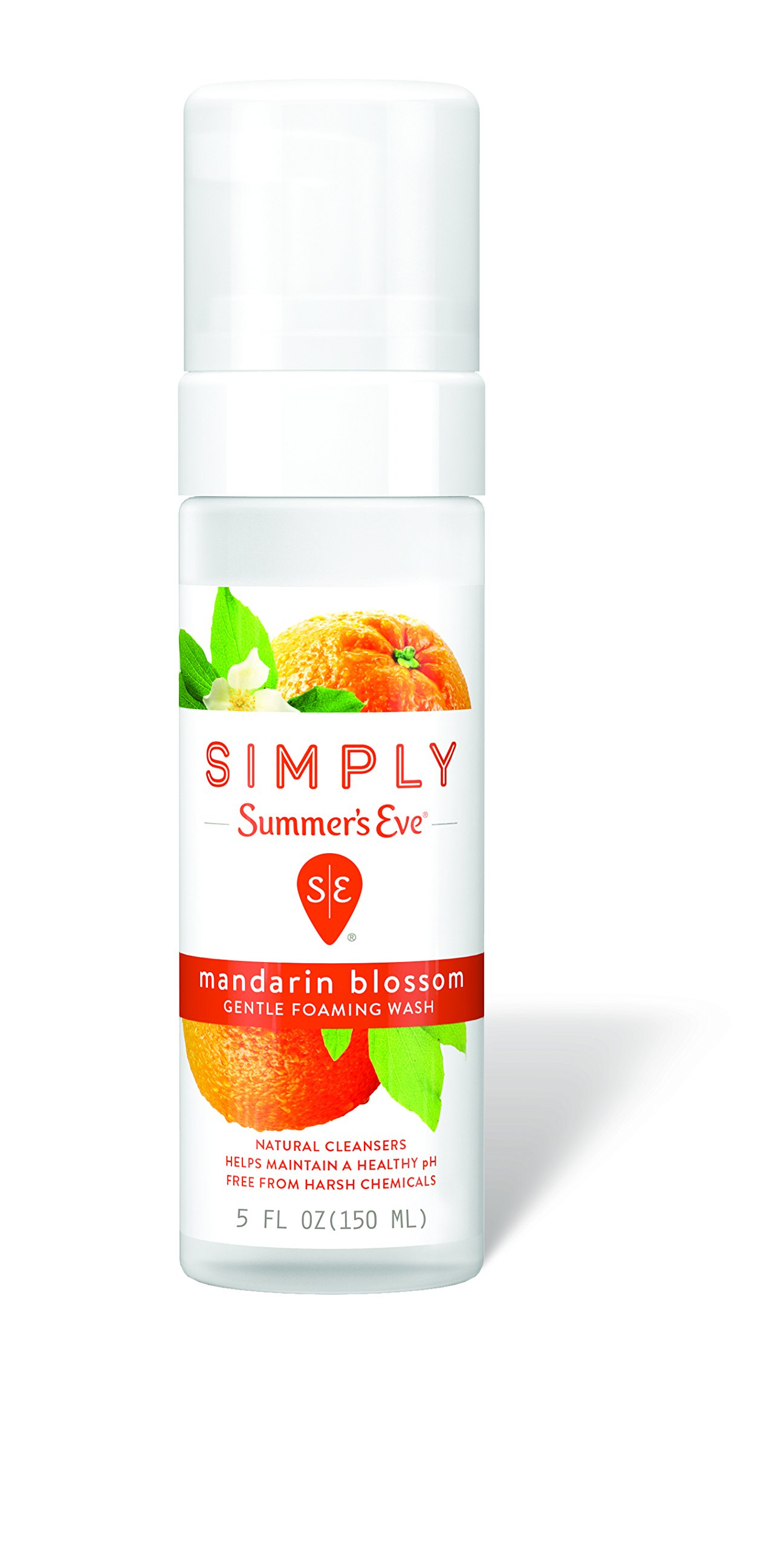 Simply Summer's Eve Gentle Foaming Wash - Helps Maintain a Naturally Healthy pH - Free From Harsh Chemicals, Dyes, Alcohol, and Parabens - Gynecologist Tested -  Mandarin Blossom - 5 Ounce