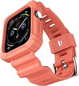 URBANITE for Apple Watch Band 40mm 38mm with Bumper Case, Rugged Protective Drop Shock Resistant Case with TPU Band Strap Fit for iWatch Series 3 4 5 6 SE Men Women Sport Military Style(Peach)