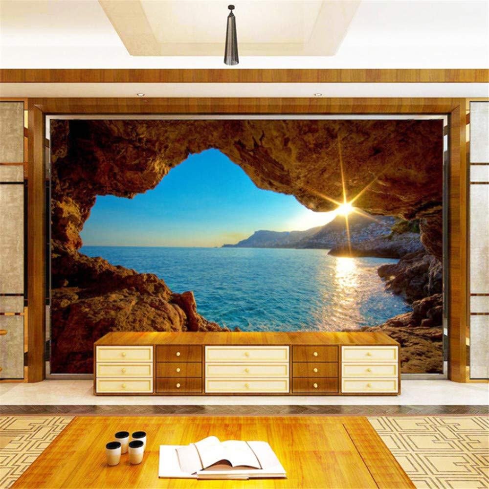 hwhz Custom Mural Wallpaper 3D Stereo Seaside Landscape Reef Cave Fresco Living Room Bedroom Space Expansion Background Wall Paper 3D-350X250Cm by hwhz (Image #4)