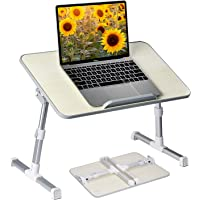 Neetto Height Adjustable Laptop Bed Table, Portable Lap Desk with Foldable Legs, Breakfast Tray for Eating, Notebook…