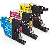 Inkadoo® Tinte kompatibel für diverse Brother DCP J- und MFC J-Drucker ersetzt Brother LC1240RBWBPDR / LC-1240 RBW BPDR - Premium Drucker-Patrone – 3er Set - 3x 12 ml