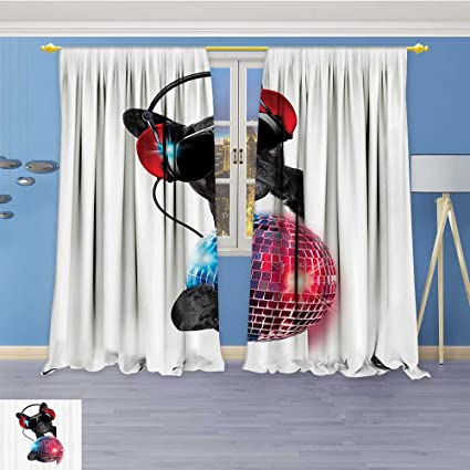 pom pom blackout curtains cream vanfanhome room darkening thermal insulated blackout grommet window curtainlistening to music with ncy disco amazoncom