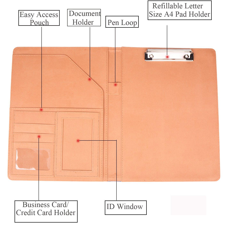 Padfolio Resume Portfolio Folder Interview//Business Card Holder,Pen Holder,with Letter-Sized Writing Pad Blue
