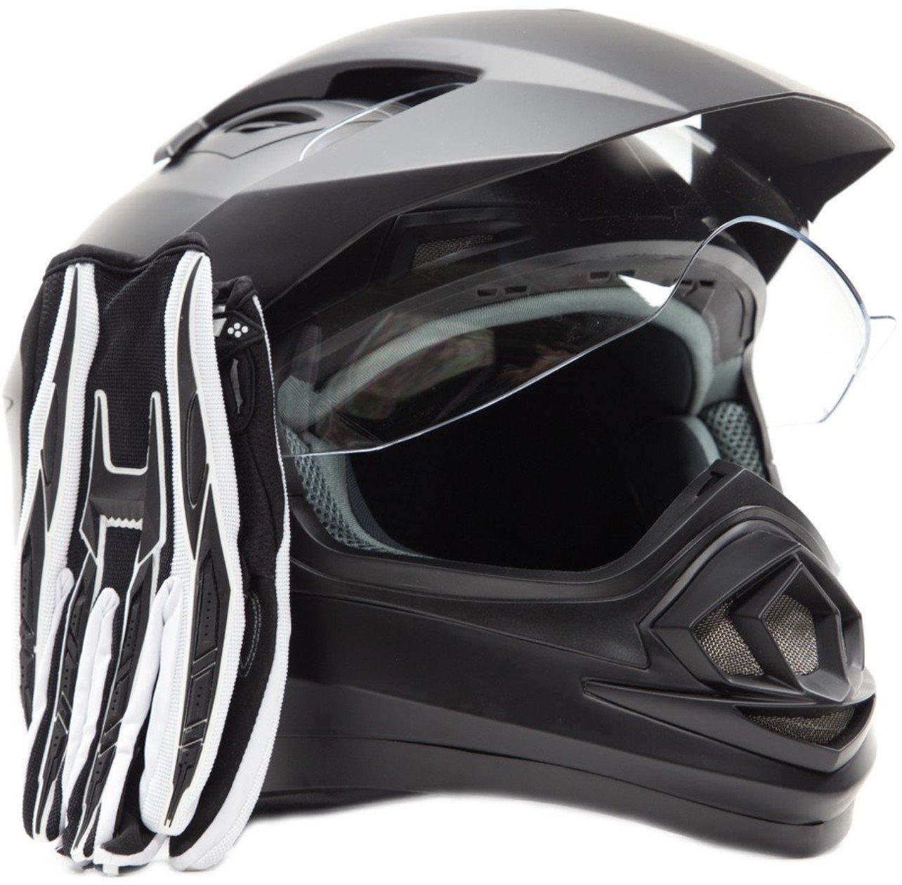 Dual Sport Helmet Combo w/Gloves - Off Road Motocross UTV ATV Motorcycle Enduro - Matte Black, Black - XXL