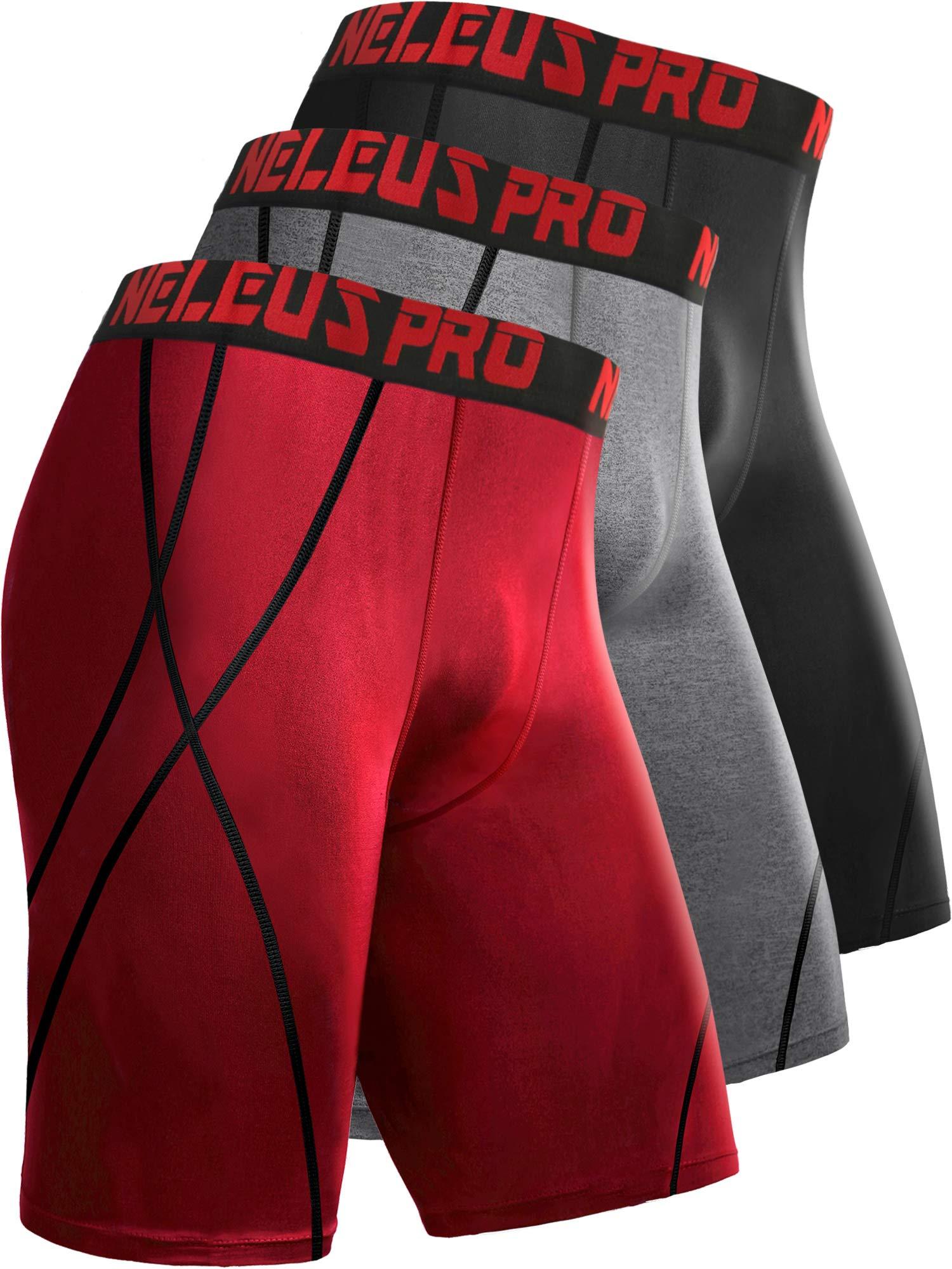 Neleus Men's 8 inch Compression Shorts,6010,3 Pack:Black,Grey,red,M,EU L by Neleus