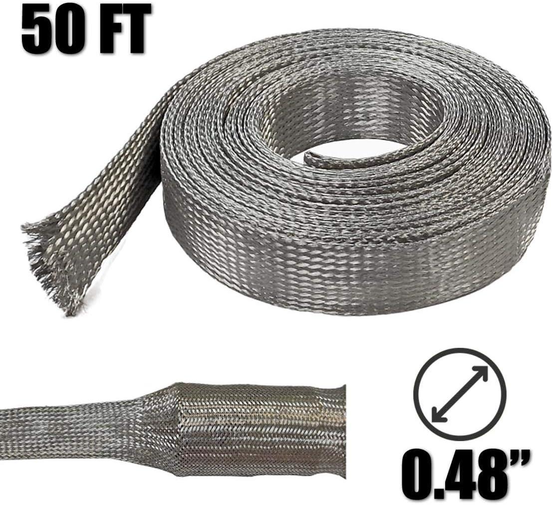 "Electriduct 3/4"" Tinned Copper Metal Braid Sleeving Flexible EMI RFI Shielding Wire Mesh (0.48"" Diameter) - 50 Feet"