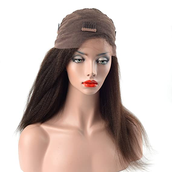 Lordhair Human Hair Kinky Straight Full Lace Wig 16inches Color #2: Amazon.es: Belleza