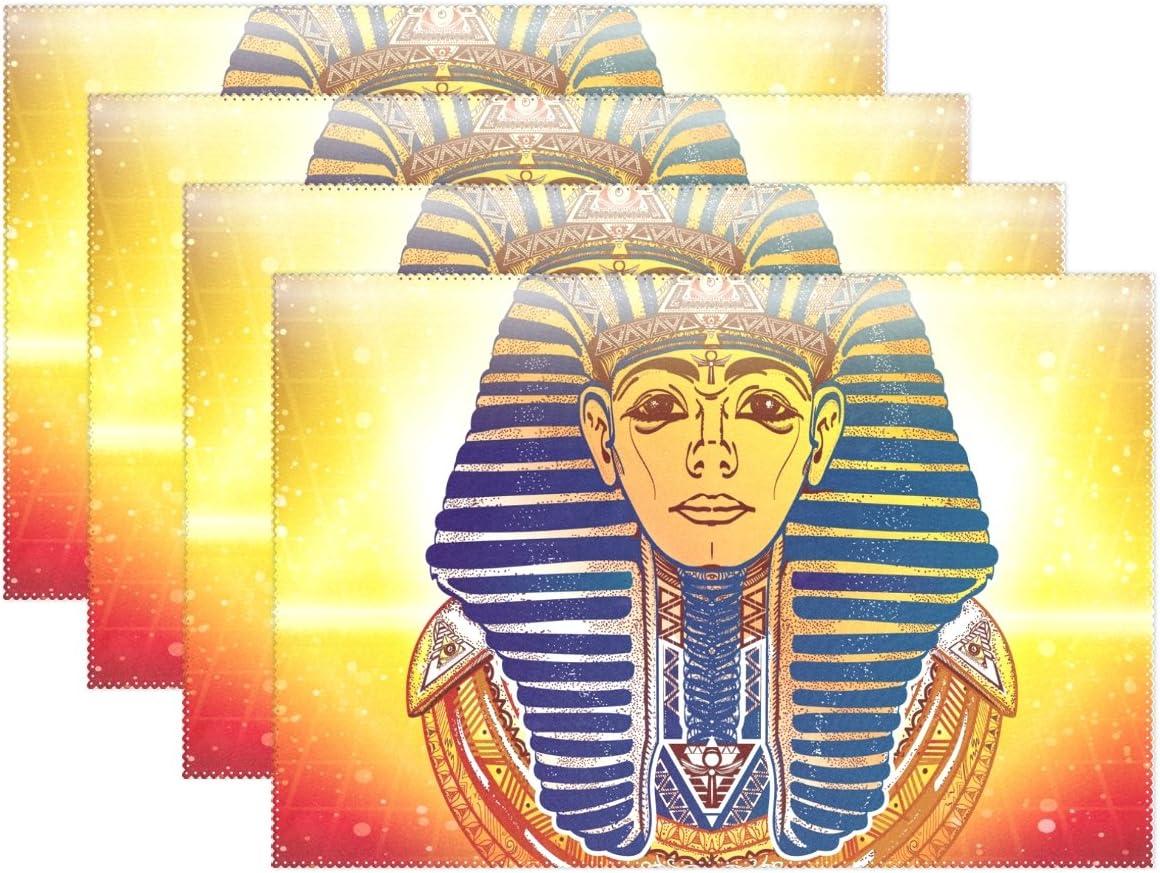 JSTEL BAIHUISHOP - Juego de 1 manteles individuales de mesa de comedor, diseño de faraón egipcio antiguo esotérico, 12 x 18 cm, poliéster, Set of 4, 12 x 18 inch: Amazon.es: Hogar