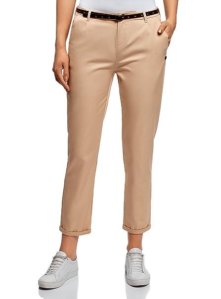 oodji Ultra Mujer Pantalones Chinos Básicos, Beige, ES 36 / XS