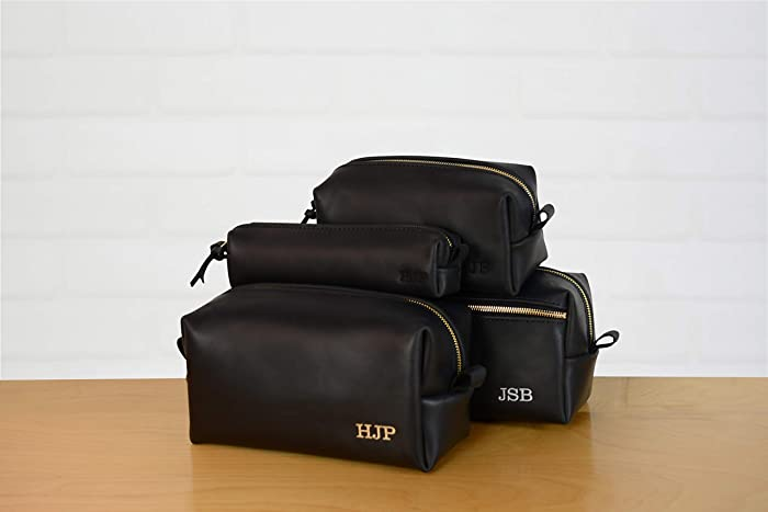 38ea054eeabd Amazon.com  Personalized Leather Dopp Kit Groomsmen Gift