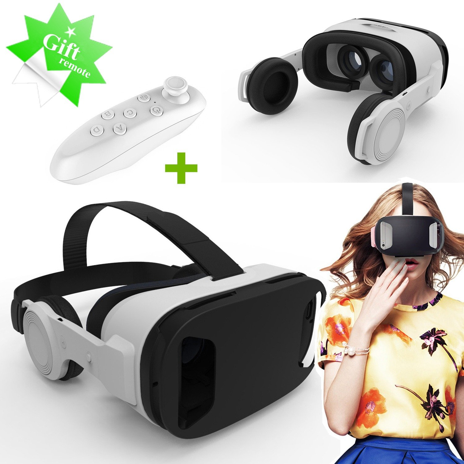 """3D VR Headset/Glasses Tsanglight Virtual Reality Headset with 3D Headphones & Gift Remote for 4.5-5.5"""" IOS & Android, VR Headset for Samsung Galaxy S7 Edge/S6/A5/A3 2016, iPhone 7 Plus/6/6S Plus etc"""