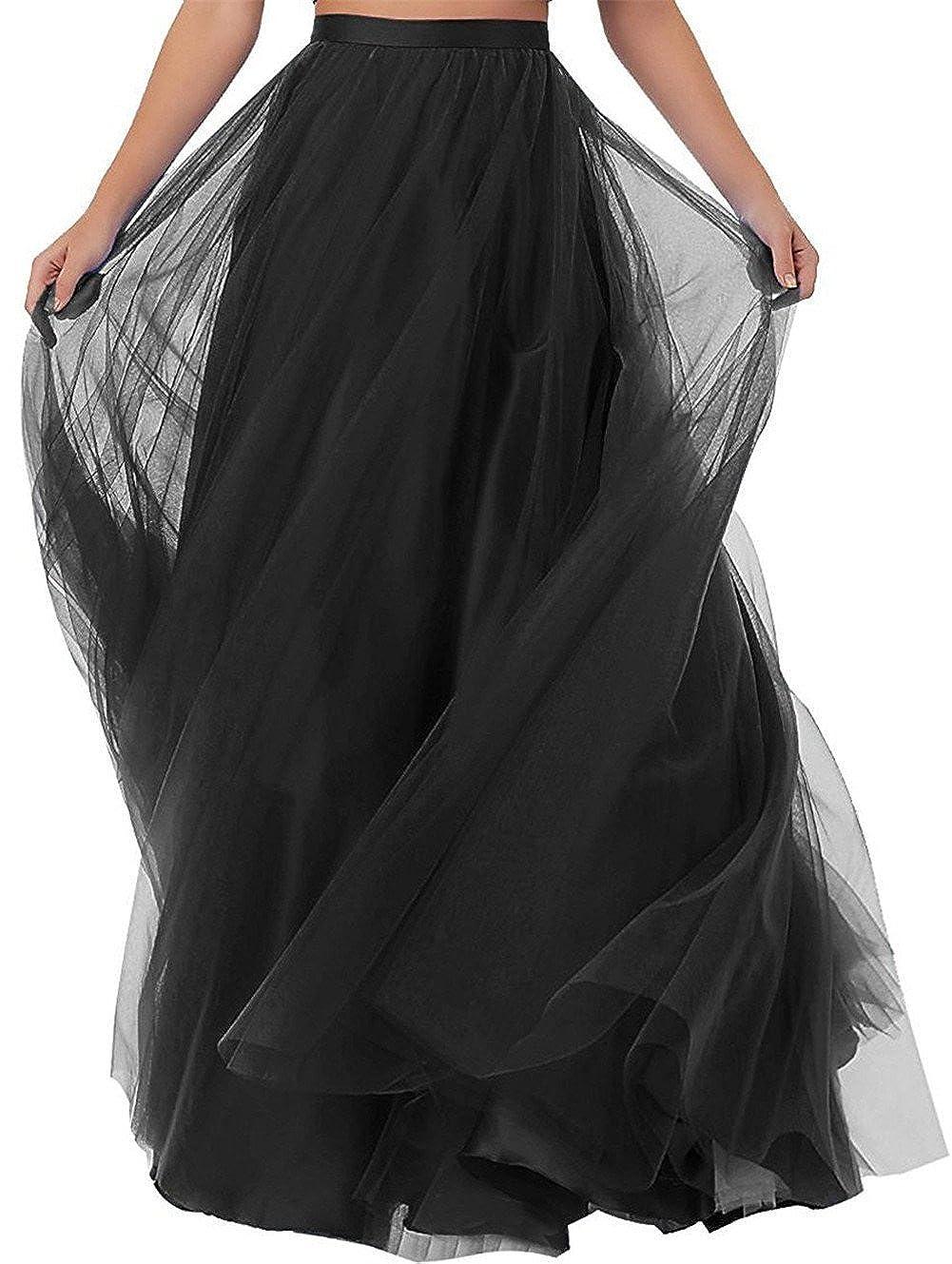 Damen Lange T/üllrock Bodenlang Rock A-Line Maxi hohe tailliertes f/ür Hochzeitsfeier