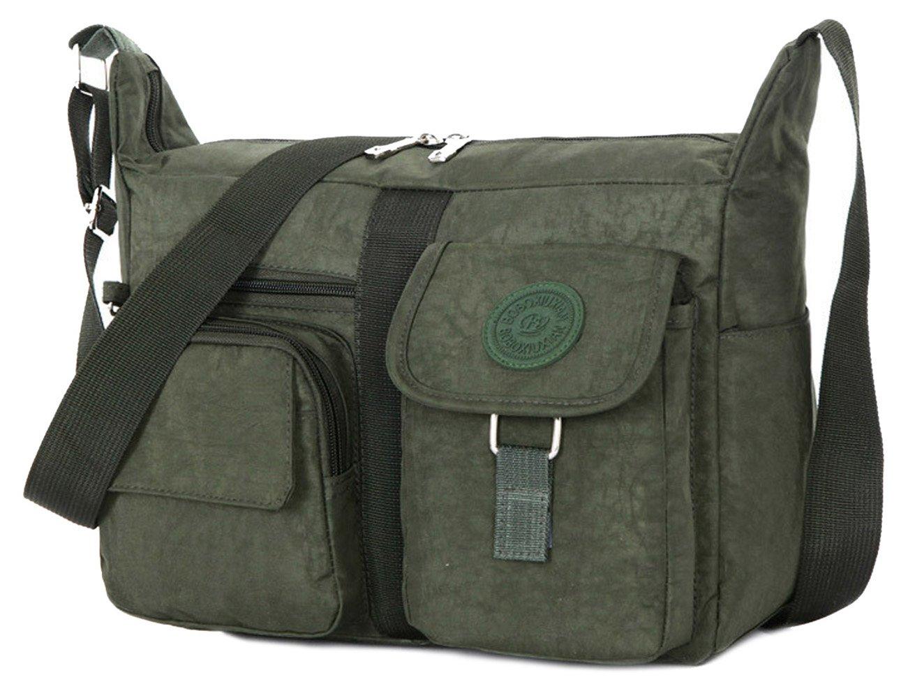 TIBES Travel Messenger Bag Casual Shoulder Bag Couple's Design Oxford Fabric Crossbody Bag for Men/Women Army Green