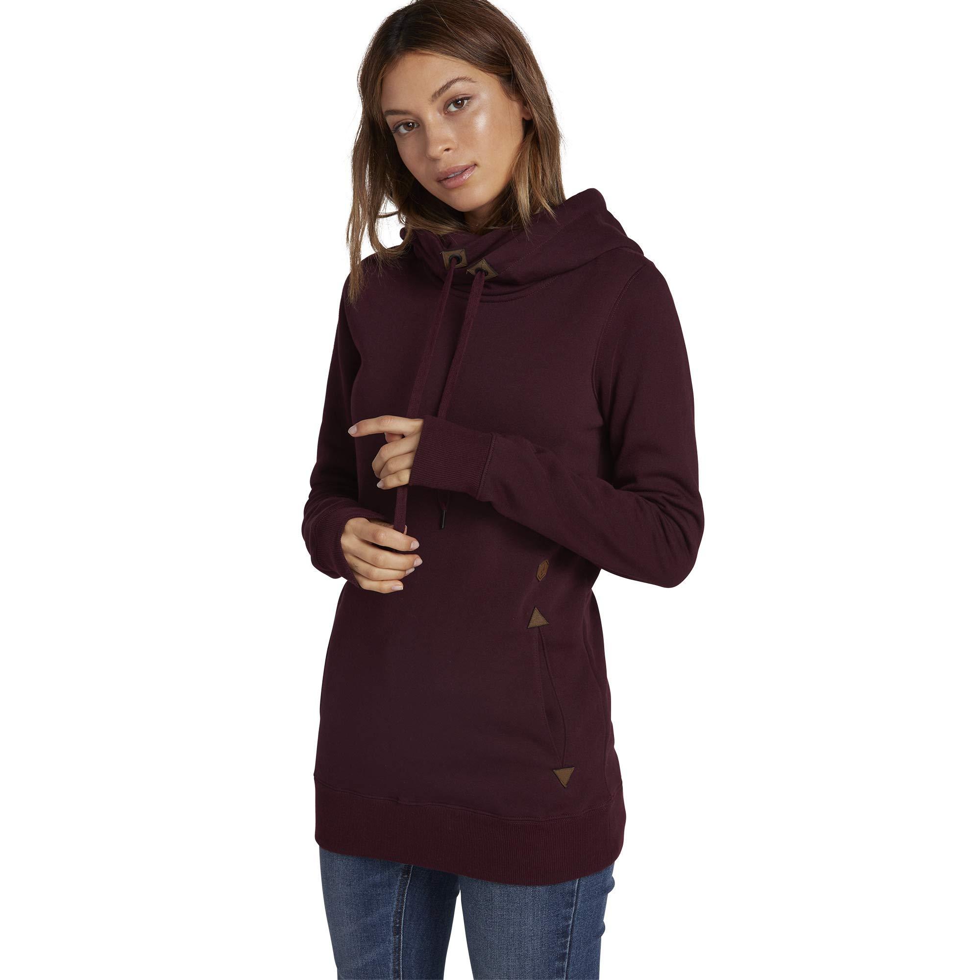 Volcom Women's Tower Pullover Heather Fleece Hooded Baselayer Sweatshirt, Merlot, Large by Volcom