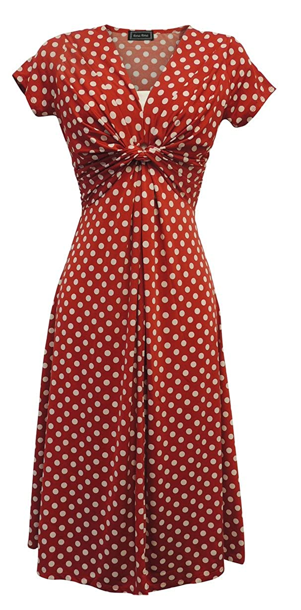 1940s Dresses and Clothing UK | 40s Shoes UK Viva-la-Rosa New Ladies Red Deco Polka Dot Vtg Retro WW2 Land girl 1940s/50s Pin-up Tea Dress £34.99 AT vintagedancer.com