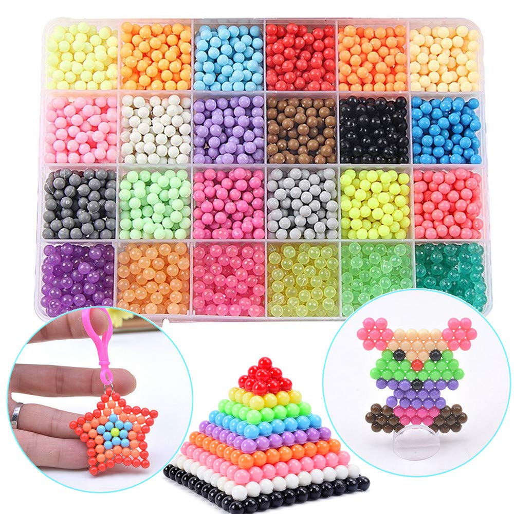 Funcool Beads Toy Fusible Beads Refill 24 Colors Water Spray Beads Set Compatible with Beados Art Crafts Toys for Kids Over 3000 Classic and Jewel Beads