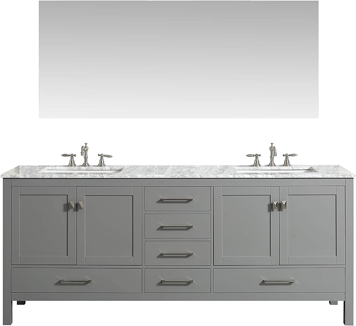 Amazon Com Eviva Aberdeen 84 Inch Gray Transitional Double Sink Bathroom Vanity With White Carrara Marble Countertop And Undermount Porcelain Sinks Furniture Decor