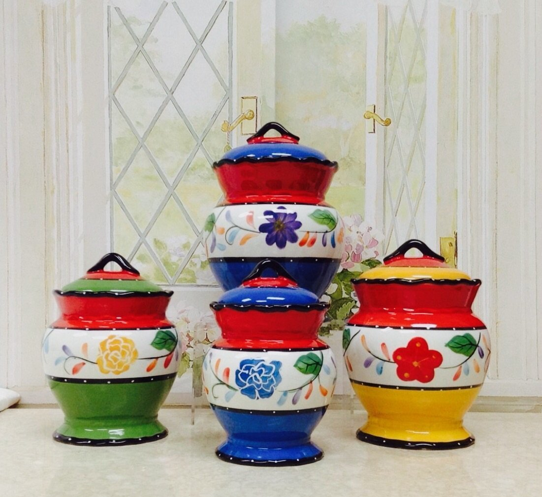 amazon com viva collection painted deluxe 4 piece canister set