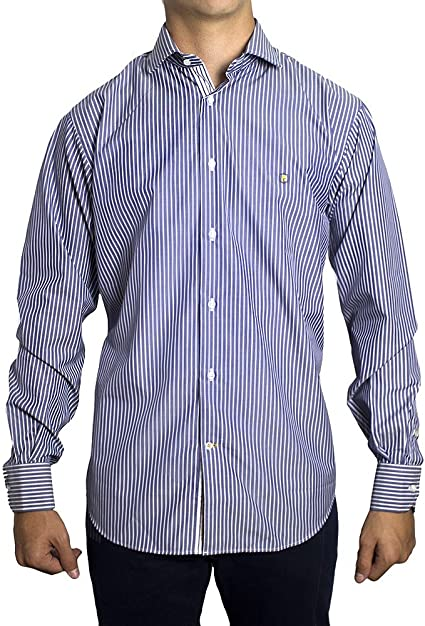 Camisa Tejido Marino y Blanco David - Color : Marine, Talla ...