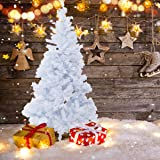 Bocca 6 FT Christmas Artificial Pine Tree Full Branches Strong Iron Stand Indoor Outdoor (White)