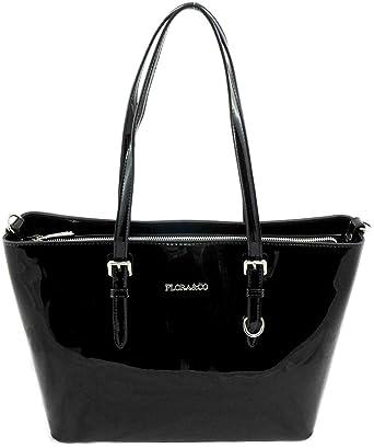 65deec1b9b379 Shopper Lack Tasche Damen Schwarz Flora   Co Handtasche  Amazon.de ...