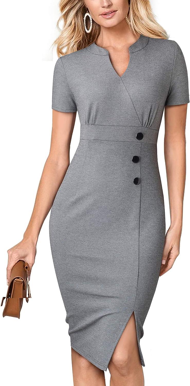 HOMEYEE Women Vintage Short Sleeve Split Wear to Work Office Dress B531