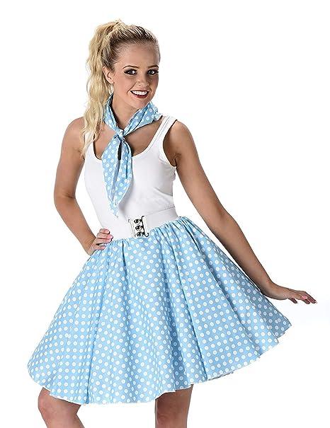 3697a12b40630 Disfraz años 50 azul claro mujer  Amazon.es  Juguetes y juegos