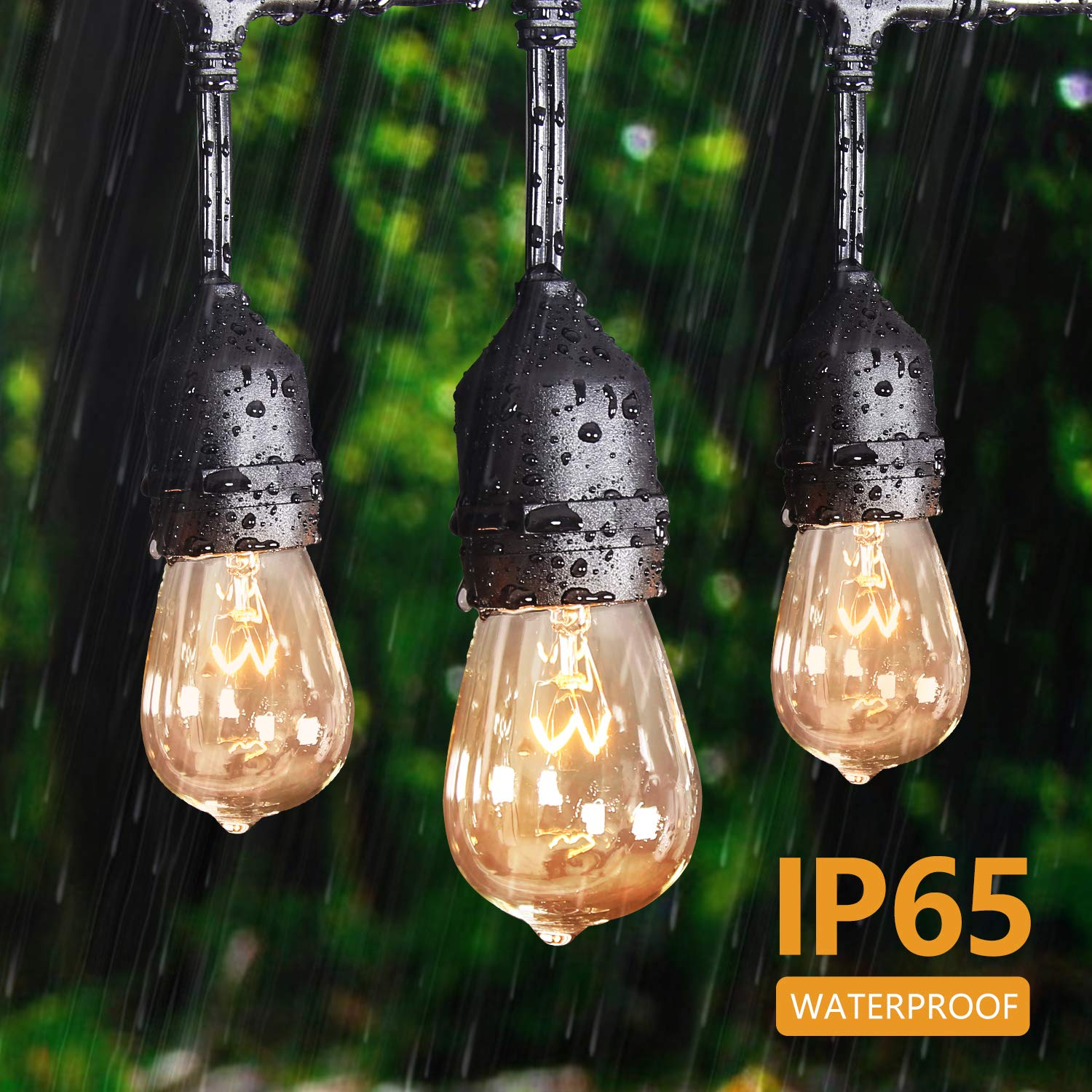 Amico 52ft Color Outdoor String Lights Commercial Grade Weatherproof Patio Lights Dimmable Color Bulbs UL Listed Heavy-Duty Outside Hanging Decorative Bistro Market Caf/é Lights