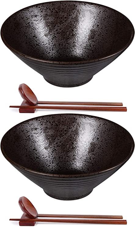 Ceramic Japanese Ramen Bowl Set of 2-60 Ounce Large Noodle Soup Bowls Matching Spoon Chopsticks for Asian Pho Udon Soba, Dishwasher and Microwave Safe