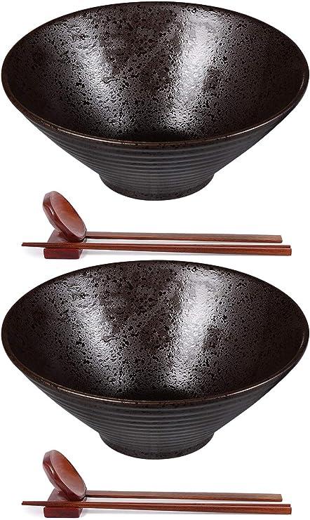 Ceramic Japanese Ramen Bowl Set of 2-60 Ounce Large Noodle Soup Bowls Matching Spoon Chopsticks for Asian Pho Udon Soba, Dishwasher and Microwave Safe