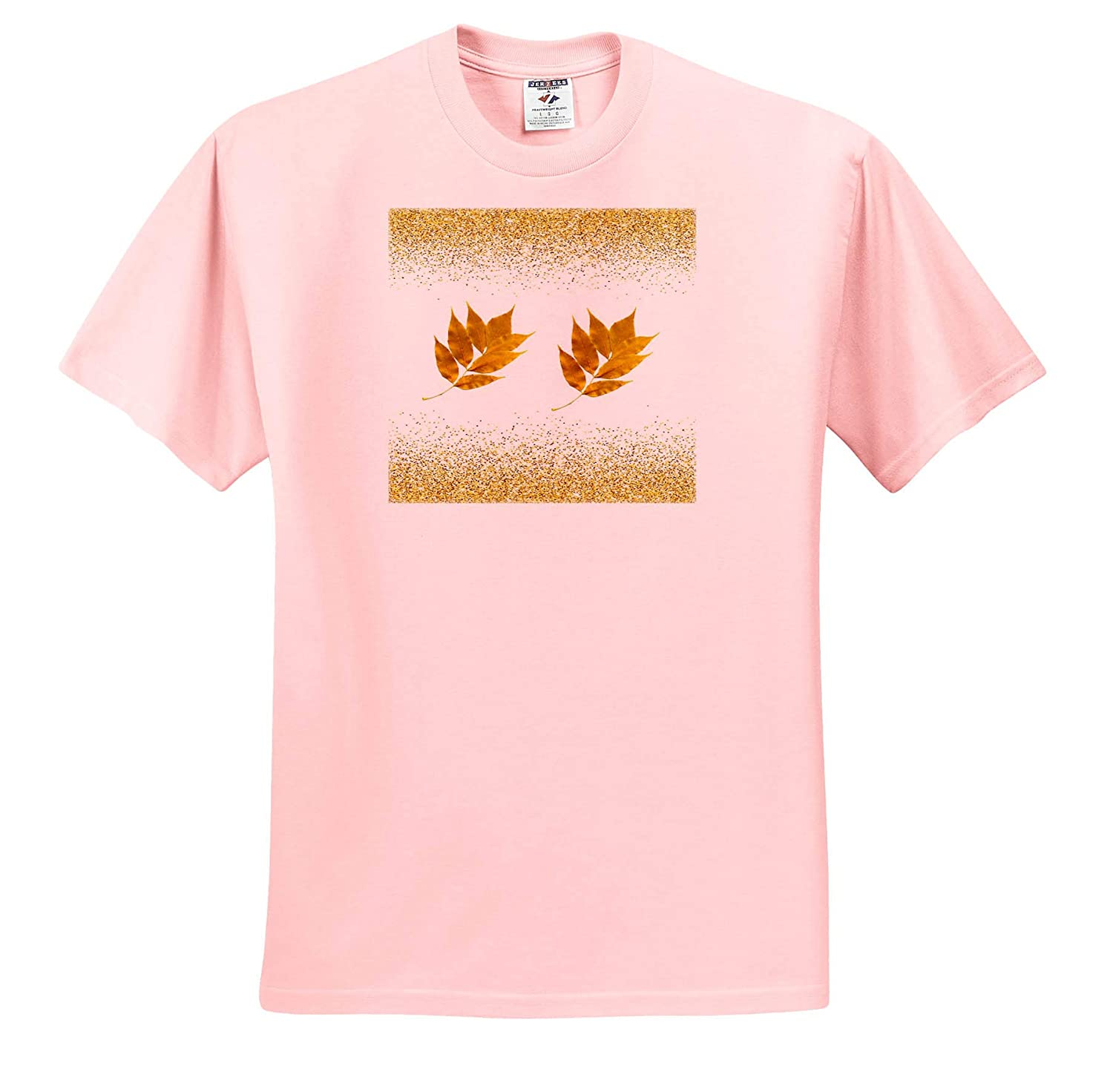Everything Gold T-Shirts 3dRose Lens Art by Florene Image of Two Gold Leaves On Gold Glitter