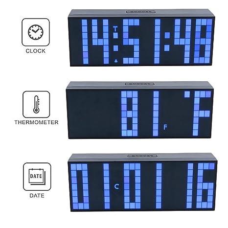 Multifunción reloj despertador digital LED de gran número de pared escritorio alarma reloj multiusos para cualquier