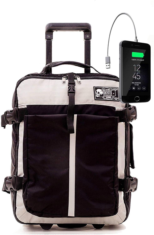 Maleta de Cabina Equipaje de Viaje de Mano Maleta Blanda de Nylon Duffel para Ryanair Easyjet 55x35x20 Trolley Juvenil by TOKYOTO Luggage 52cm Sof Black (Maleta + Cargador)