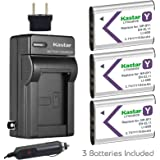Kastar Battery 3X + Charger for NP-BY1 EN-EL11 LI-60B DLI-78 DB-L70 DB-80 Sony Action Cam Mini HDR-AZ1 Nikon Coolpix S550 S560 Olympus FE-370 Optio L50 M50 M60 V20 W60 W80 Ricoh R50 VPC-E10