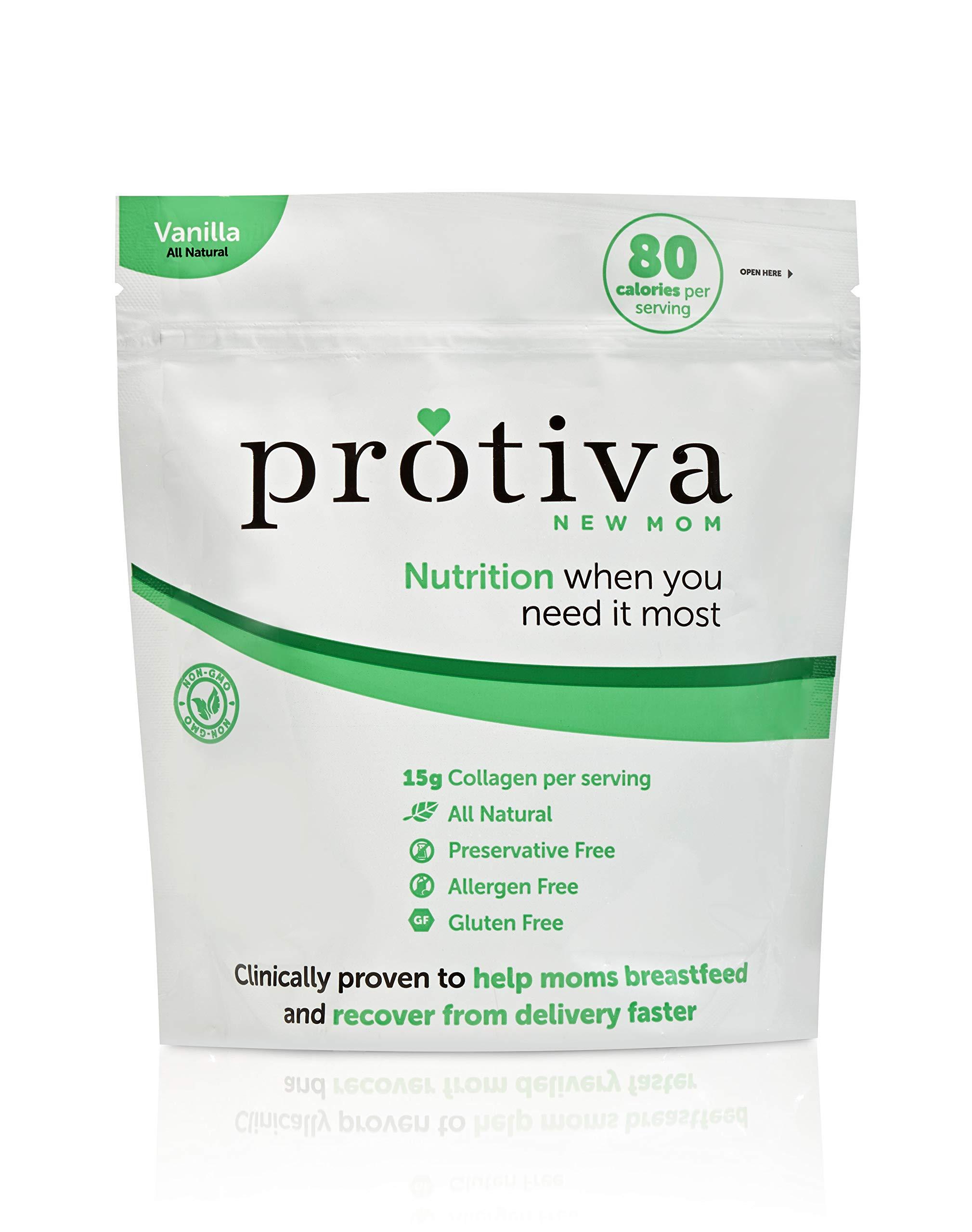 Protiva New Mom Postpartum and Breastfeeding Protein, 1lb Collagen Protein Powder, 2g Sugar, Lactose Free, Gluten Free, Allergen Free, All Natural, Non-GMO