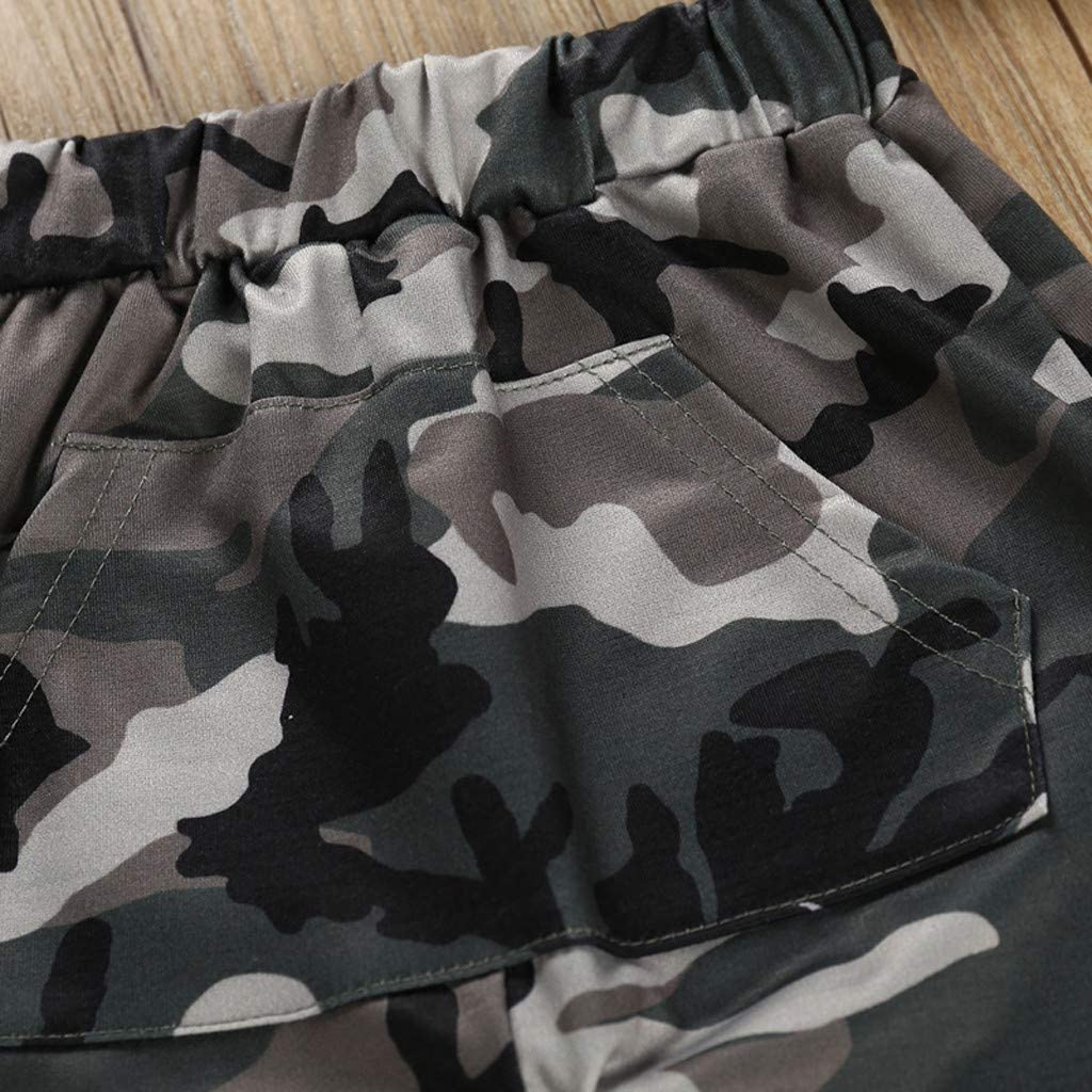 Baby Toddler Boys Autumn Clothes Outfits for 1-5 Years Old Child Long Sleeve Hooded Sweater Camouflage Pants Set