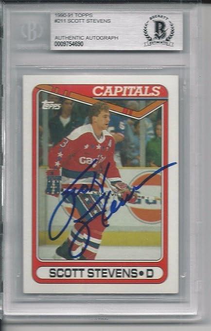 1182432e SCOTT STEVENS (Capitals) Signed 1990 TOPPS Card #211 Beckett Authenticated  - Beckett Authentication