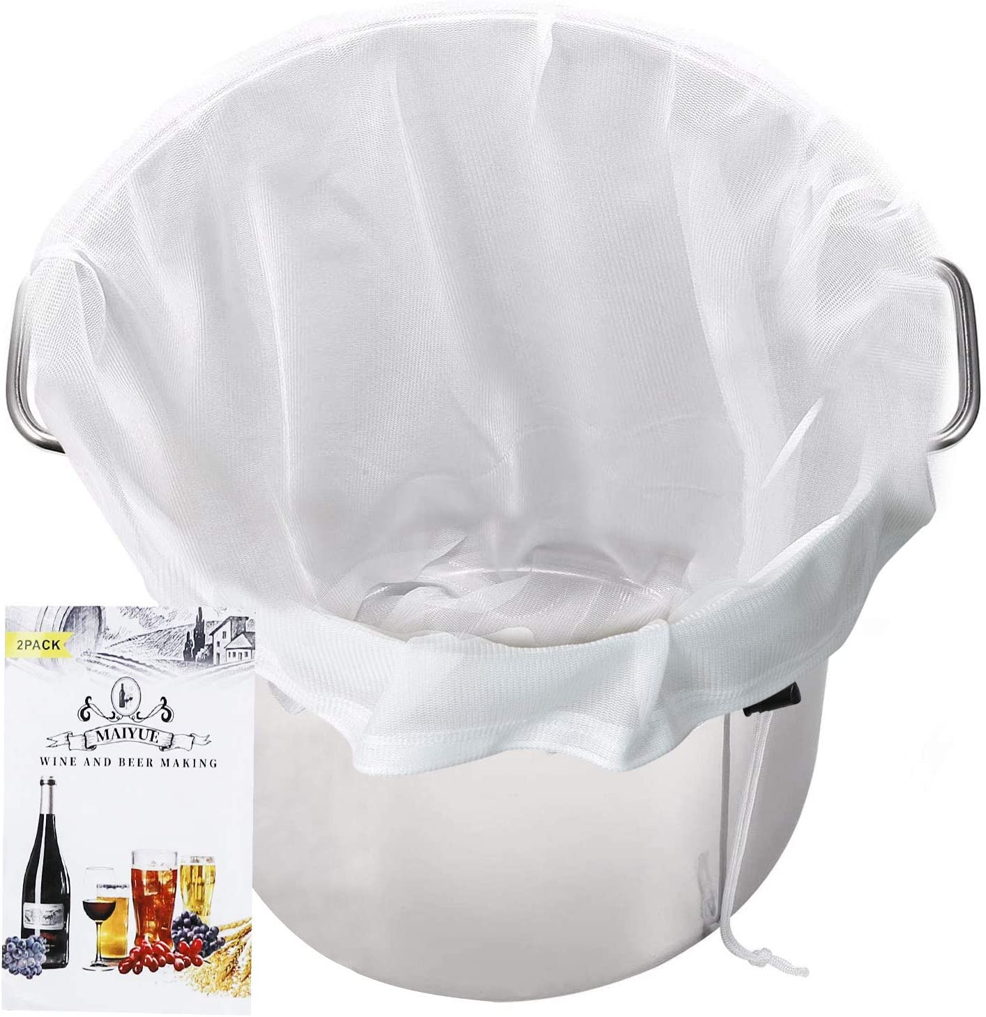 MAIYUE Brew Bags Reusable 175 Micron Fine Mesh Bag, All Purpose Food Strainer - Food Grade BPA-Free - Ultra Strong Fine Nylon Mesh, Grape Wine Press Drawstring Straining Brew in a Bag(2 pcs-22