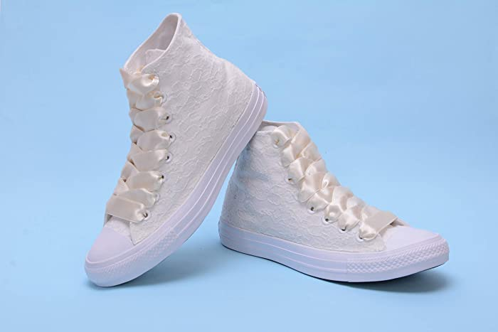 Amazon Com Ivory High Top Wedding Sneakers For Bride Lace Bridal