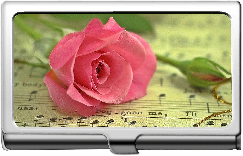 Titular de la tarjeta de identificación comercial de crédito, partitura Estuche de tarjeta de identificación de tarjeta de crédito de bodegón de flores de rosas: Amazon.es: Oficina y papelería